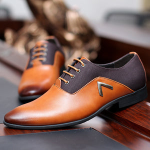 Leather Oxfords Formal Male Pointed Toe Dress Shoes