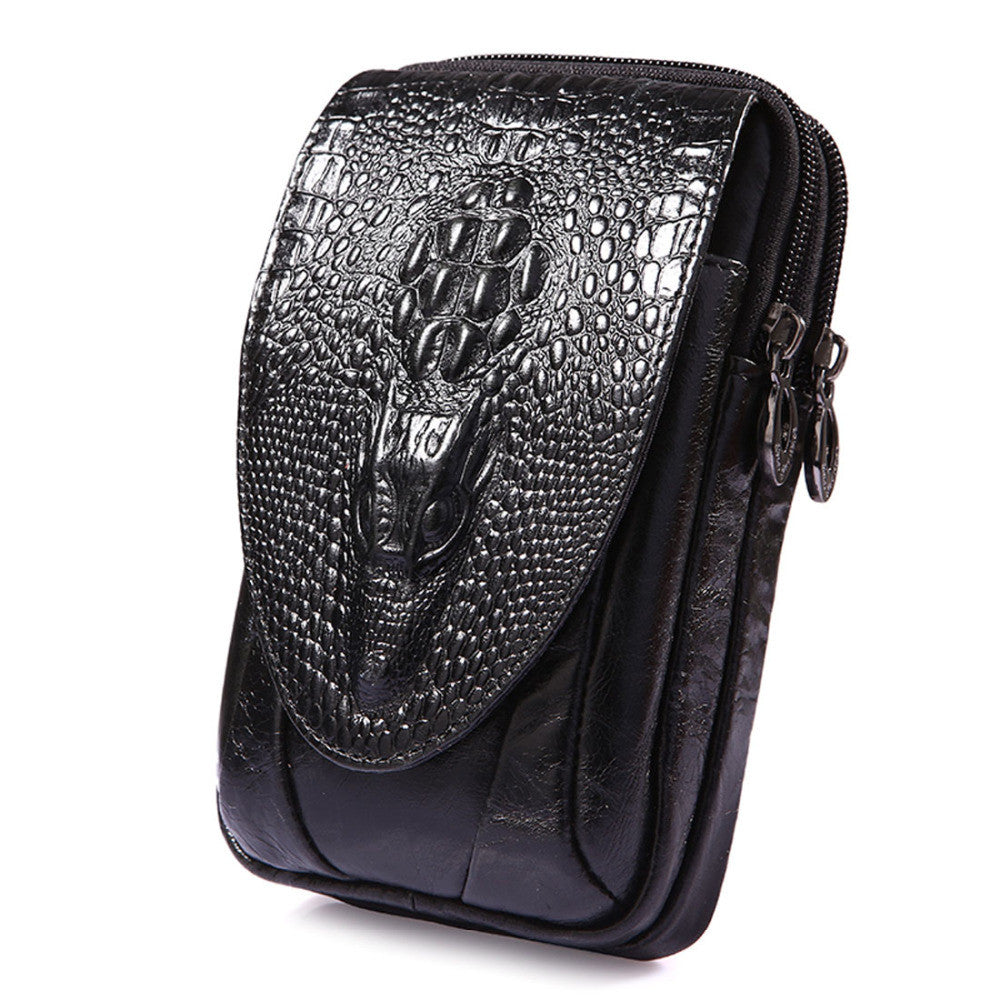 Men  Crocodile Pattern Genuine Leather Mobile Phone Cover Case Pocket Hip Belt Pack Waist Bag