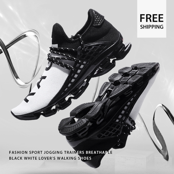 Sneakers-Shoes - Fashion Sport Jogging Trainers Breathable Black White Lover's Walking Shoes