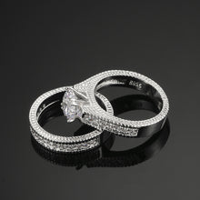 Load image into Gallery viewer, Silver Color Luxury 2 Rounds  Fashion Wedding Ring Set