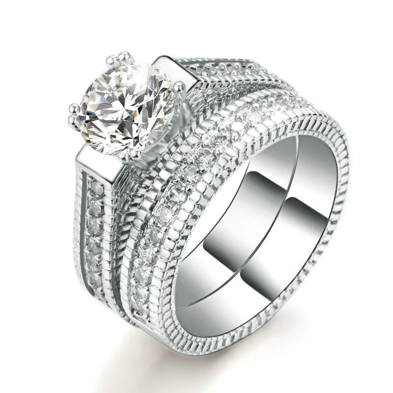 Silver Color Luxury 2 Rounds  Fashion Wedding Ring Set