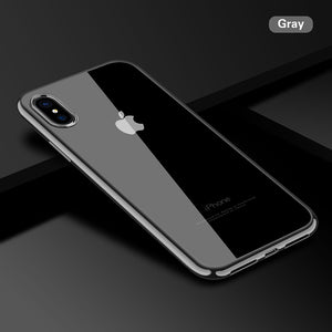 Ultra Thin Transparent Plating Shining Silicon Soft TPU Case For iPhone X