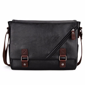 Large Horizontal Black Satchel Men Messenger Bag