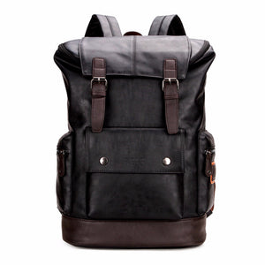 Simple Patchwork Large Capacity Mens Leather Backpack