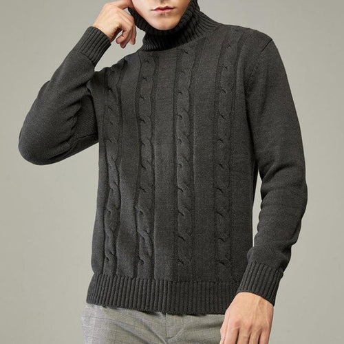 High-collar Twist Knitted With Thick Pattern Men's Sweater