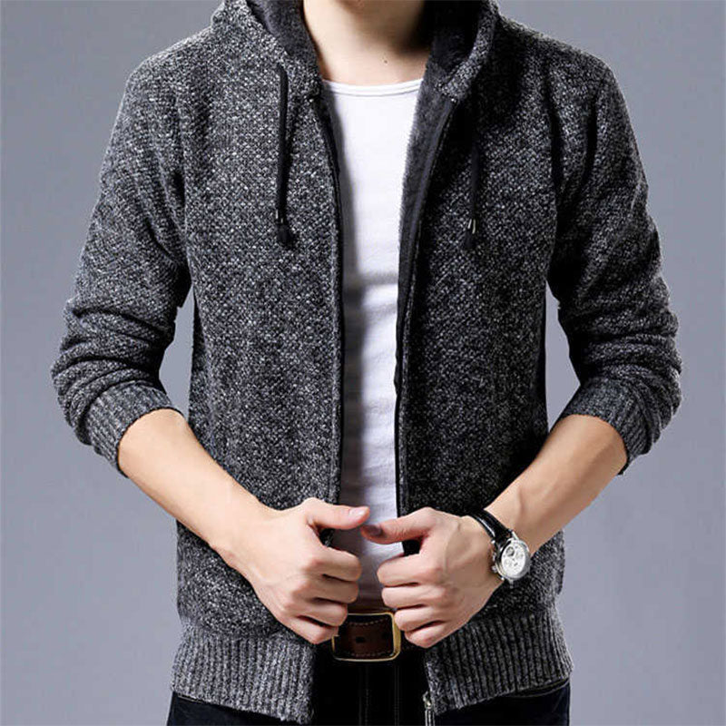 Knit Cardigan Fashion Casual Hooded Sweater Jacket