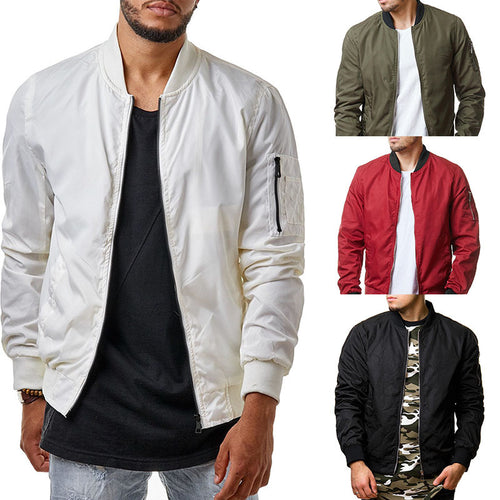 Solid color outdoor collar men's jacket