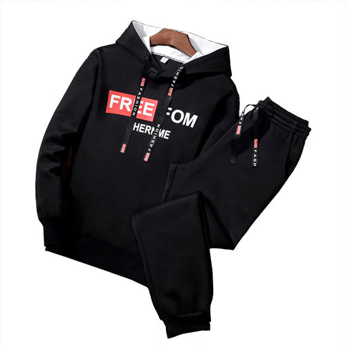 Letter Pullover Cotton Blends Hooded Men's Sports Suits