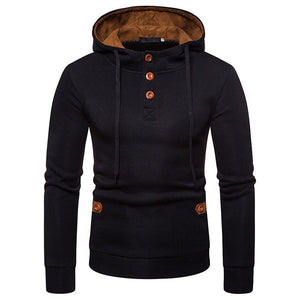 Men's Suede Color Hooded Sweater