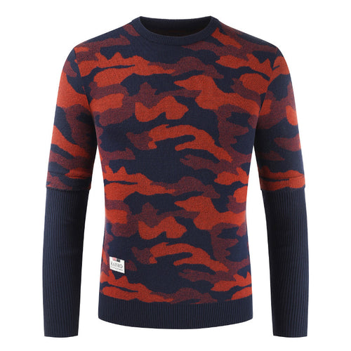 Knitted Round Collar Camouflage Men's Sweater