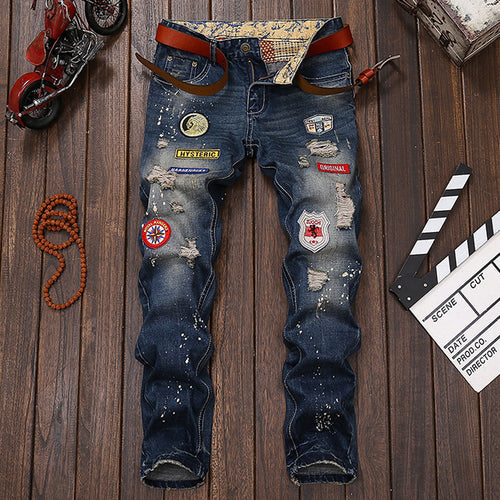 Hole Embroidery Worn Men's Jeans