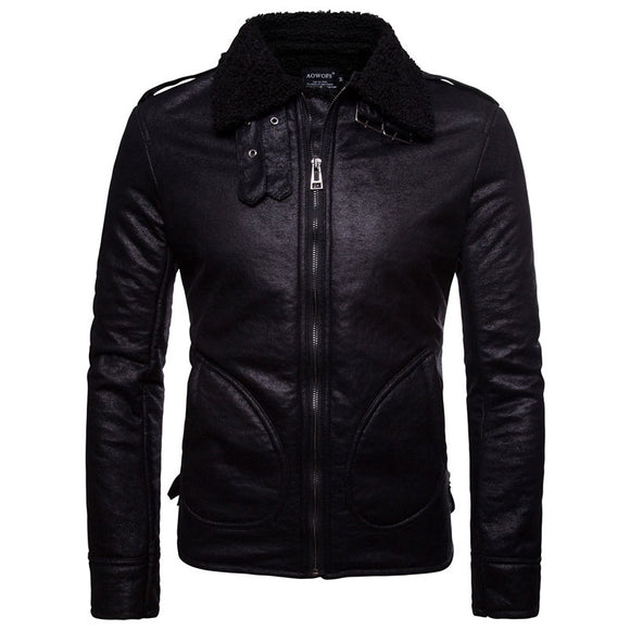 PU Zipper Polyester Long Sleeve Men's Leather Coat