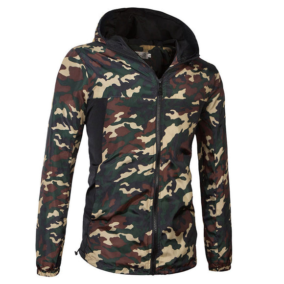 Hooded Camouflage Slim Cotton Pocket Men's Jackets Coat