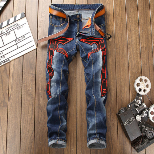 Hole Splicing And Self-cultivation Embroidery Men's Jeans