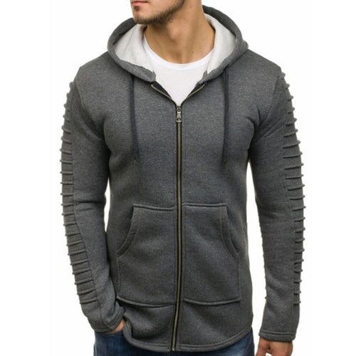 Men's Shoulder Pleated Casual Sports Sweatshirt