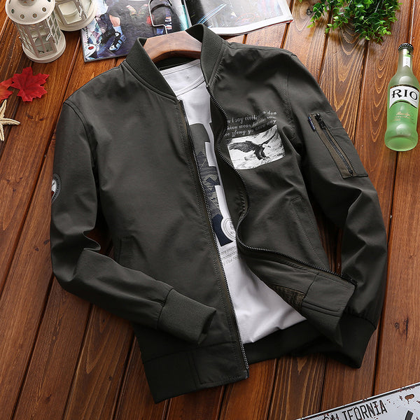 Stand Collar Printing Zippered Cotton Men's Coat