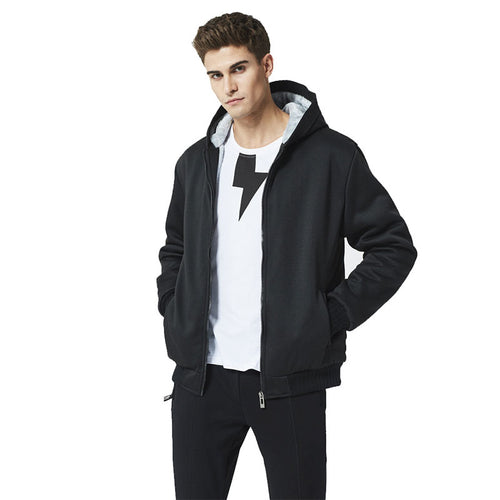 Solid Color Hooded And Velvet Zipper Cardigan Hoodie