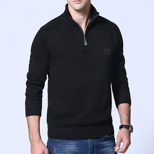 Pure Color Long Sleeve Zippered Men's Sweater