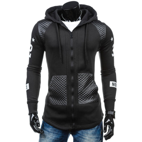 Letter Zippered Patchwork Slim Casual Men's Hoodies