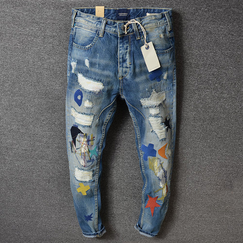 Hole-breaking And Self-cultivation Hit Color Men's Jeans