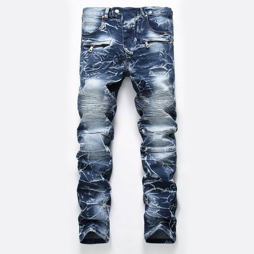 Pleated Worn Zippered Gradient Casual Men's Jeans