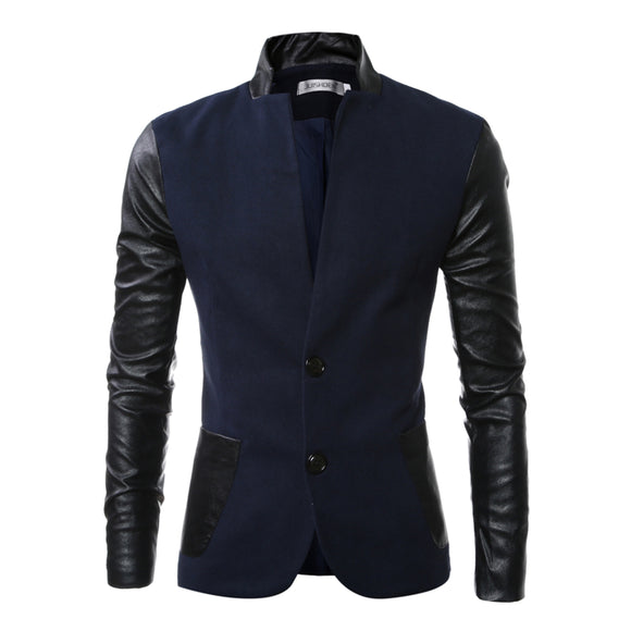 Single Breasted Stand Collar Casual Men's Leather Coat