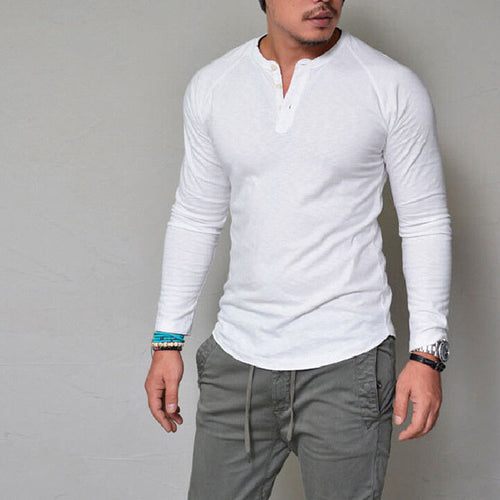 Autumn and winter round neck solid color men's shirt