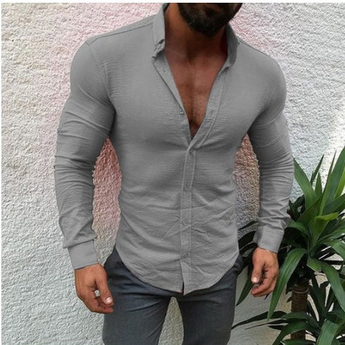 Pure Long-sleeved Button Lapel Men's Shirt