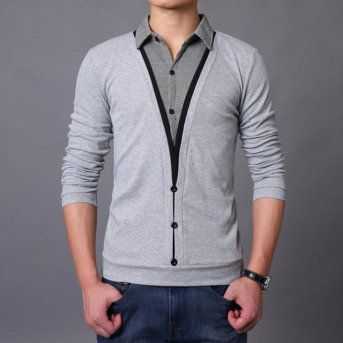 Pure Color Long Sleeve Single-Breasted Men's Sweater