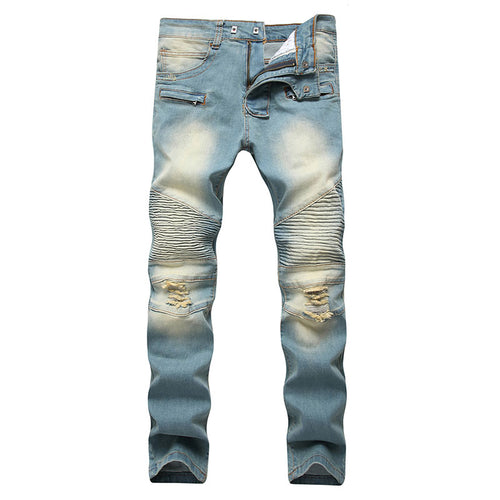 Zippered Long Pants Cotton Blends Men's Jeans