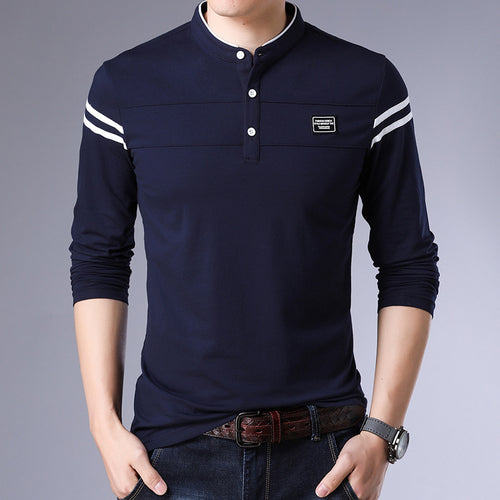 Thin Collar Four Upright Buttons Ninety-five Cotton Men's Sweatshirt
