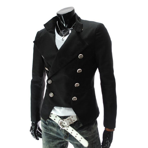 Slim Regular Turn-down Collar Double-Breasted Men's Coat