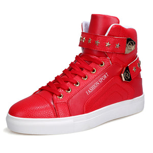 Chain Man Made PU Velcro Men's High-Top Sneakers