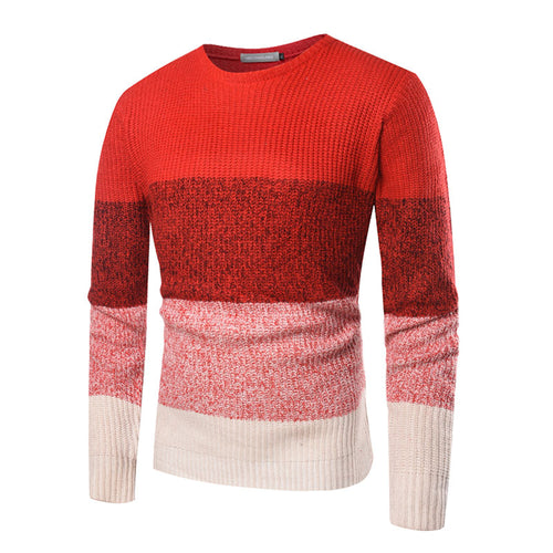 Hit Color Casual Round Neck Cotton Blends Men's Sweater