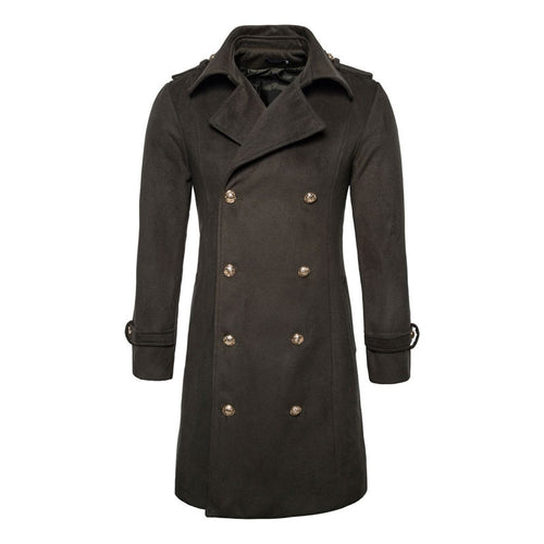 Wool Blends Casual Lapel Long Sleeve Men's Trench Coat