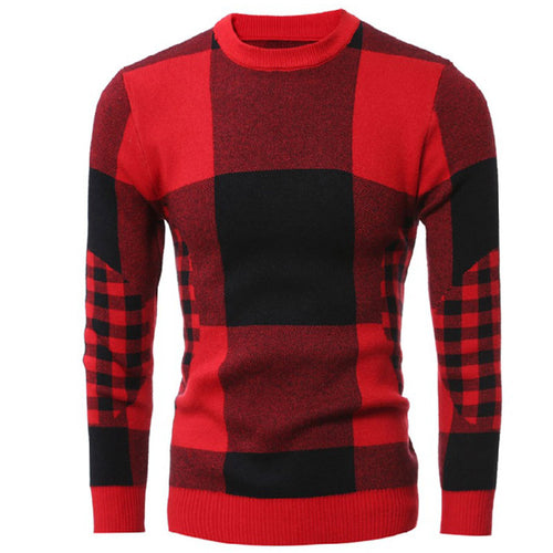 Plaid Long Sleeve Pullover Men's Sweater