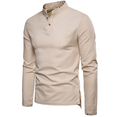 Stand collar cotton long sleeve men's shirt