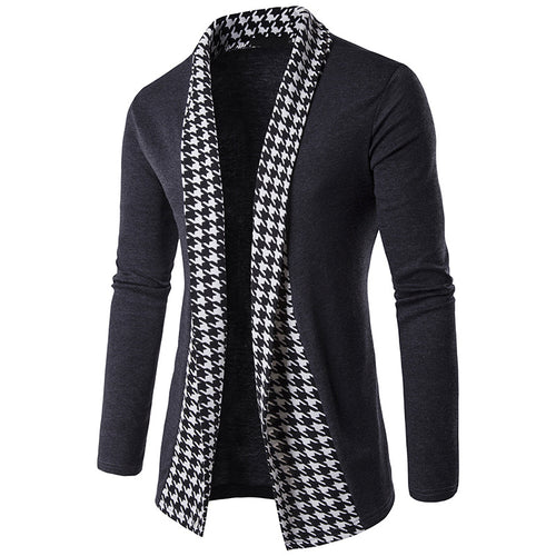 Houndstooth Color-blocked Long Sleeve Men's Sweater