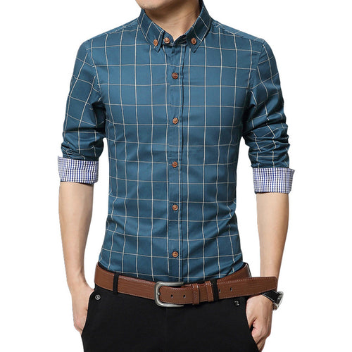 Long sleeve plaid cotton men's shirt