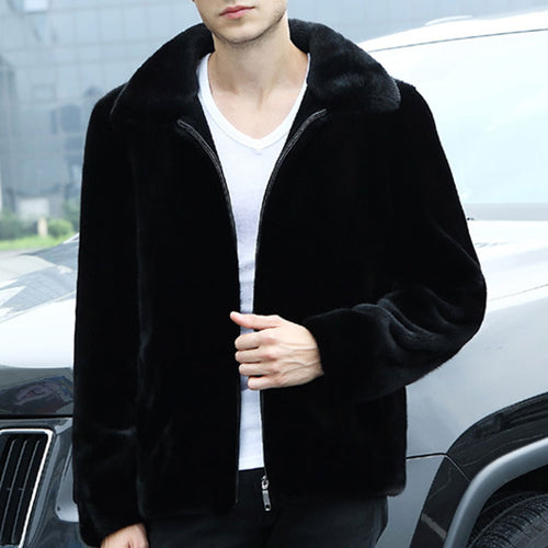 Mink-like Mid-length Wool Men's Coat