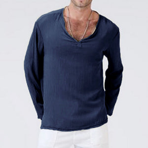 V-neck loose solid color long-sleeved T-shirt
