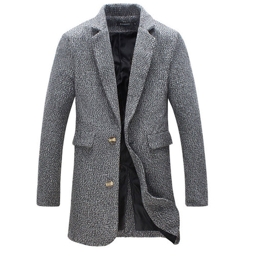 Single-Breasted Plain Pocket Polyester Lapel Men's Trench Coat
