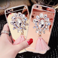 Load image into Gallery viewer, Luxury Diamond Rhinestone Mirror Phone Case With Tassels For iPhone
