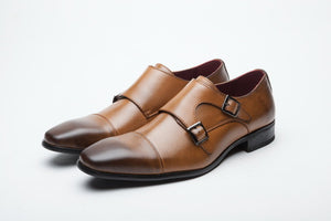 Leather Buckle Straps Brogues Shoes