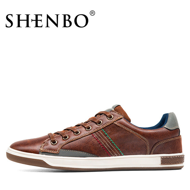 Retro Style Lace Up Leather Male Shoes
