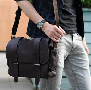 High Quality Leather Business Men Shoulder  Laptop Bag
