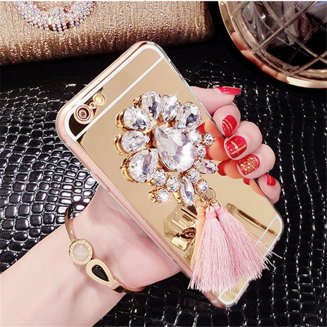 Luxury Diamond Rhinestone Mirror Phone Case With Tassels For iPhone