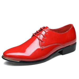 Solid Color Glossy Oxfords Shoes for Men