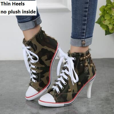 New Fashion High Heels Lady Jean Ankle Boots
