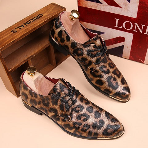 Leopard Print Lace Up Men Leather Shoes – catcas 0e623afa1